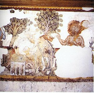 Iwein - Two scenes from the Iwein frescoes at Schloss Rodenegg: The stone on the spring is watered (left), and the Woodsman (right).