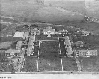 James Madison University - Aerial view of campus from 1937, showing the original campus plan, prior to major expansions of the campus