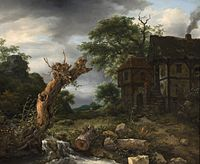 Jacob van Ruisdael - Landscape with a Half-Timbered House and a Blasted Tree.jpg