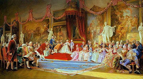 The Inauguration of the Academy of Arts, a painting by Valery Jacobi. Jacobi InaguarationofAcademy.jpg