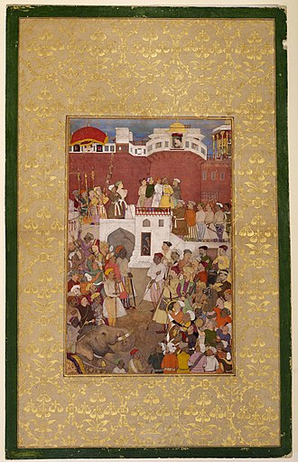 Jharokha Darshan - Jahangir at a jharokha window in Agra Fort, c.1620, from the collection of the Aga Khan Museum.