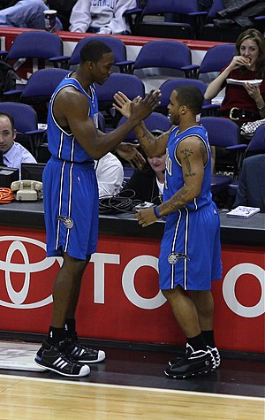 Jameer Nelson - Nelson with then Magic teammate Dwight Howard.