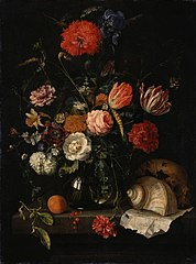Memento Mori with a Skull under a Vase with Flowers