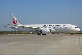 "Japan Airlines - JAL Boeing 787–8 in the current ""tsurumaru"" livery at Domodedovo International Airport, Moscow, Russia."