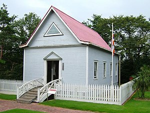 Japanese in Hawaii - Japanese Immigrant's Assembly Hall in Hilo. Built in 1889, today located in Meiji Mura museum, Japan.