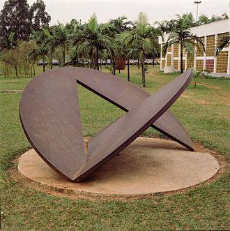 Amílcar de Castro - Sculpture by de Castro in the garden of the Museu de Arte Contemporaneo, University of São Paulo