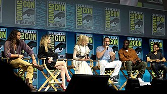 Aquaman (film) - Cast and director of Aquaman at the 2018 San Diego Comic-Con. From left to right: Jason Momoa, Amber Heard, Nicole Kidman, Patrick Wilson, Yahya Abdul-Mateen II and James Wan