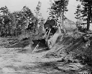 Carolina Maneuvers - A jeep tows a 37-mm gun in Wadesboro, North Carolina