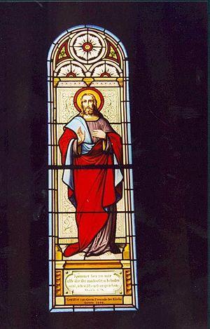 Deutsch: Kirchenfenster in Tschiertschen - Jesus