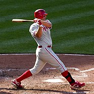 Photo of Jim Thome Phillies' first baseman from 2003 to 2005 and 2012 at bat swinging at a pitch