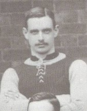 Jimmy Crabtree cropped from the Aston Villa team photo of 1897. Image believed to be in the public domain due to age
