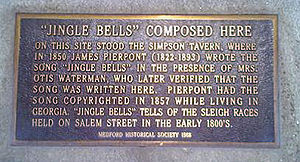 Jingle Bells - Plaque at 19 High Street, Medford, Massachusetts