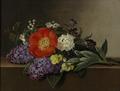 Johan Laurentz Jensen - Syrener, violer, stedmoderblomster, hvidtjørn og pæoner på en marmorkarm - 1832.png