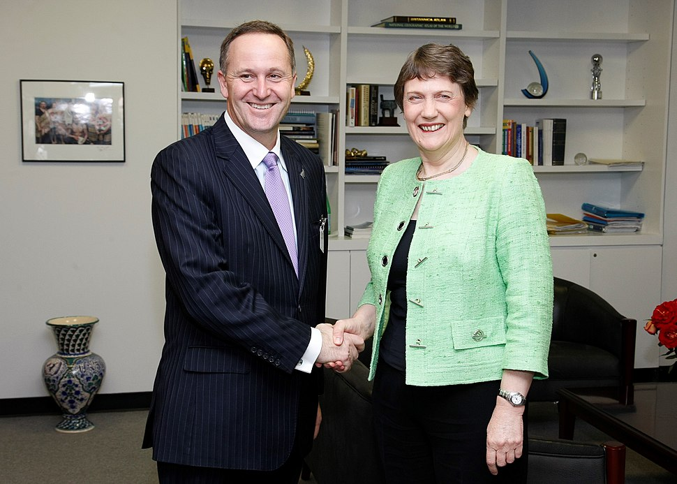 John Key Helen Clark handshake
