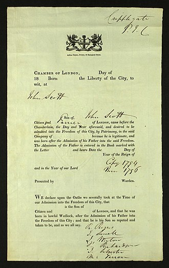 Freedom of the City of London - John Scott England Freedom of the City Admission Papers