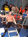 John Walters lying on a ladder.jpg