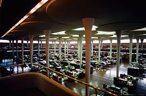 "Johnson Wax Headquarters - Interior, ""Great Workroom"", of the Johnson Wax Headquarters building"