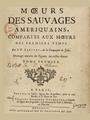 Joseph-François Lafitau - Moeurs des sauvages amériquains, T1.png