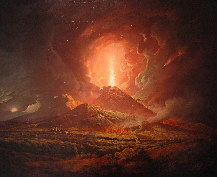 An eruption of Vesuvius seen from Portici, by Joseph Wright (ca. 1774-6)