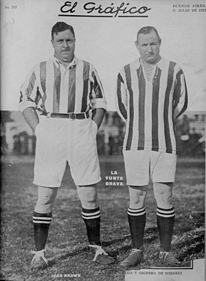 Jorge Brown - Jorge Brown (right) with his brother Juan in an exhibition game played by Alumni in 1923.