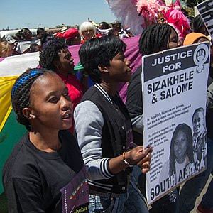 Pride parades in South Africa - Soweto Pride 2012 participants remember two lesbians who were raped and murdered.