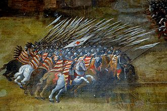 Cavalry tactics - Polish hussar formation at the Battle of Klushino 1610 - painting by Szymon Boguszowicz 1620