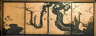 Kanō Sansetsu - Screen attributed to Kano Sansetsu, The Old Plum, c. 1645, Metropolitan Museum of Art