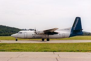Kristiansand Airport, Kjevik - Fokker 50 of KLM Cityhopper at Kjevik in 2000