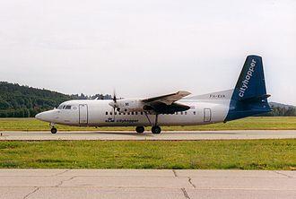 KLM Cityhopper - KLM Cityhopper Fokker 50 at Kristiansand Airport, Kjevik in old livery