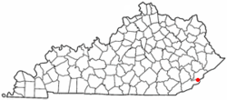 Location of Benham within Kentucky