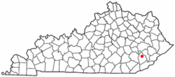 Location of Hyden, Kentucky