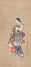 Kaigetsudo Ando - Standing Portrait of a Courtesan, c. 1705-1710, Hanging scroll; ink, color and gold on paper.jpg