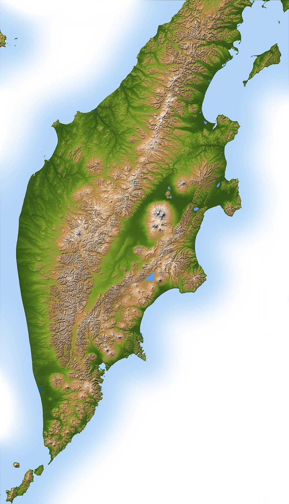 Kamchatka peninsula topo