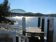 Kangaroo Point NSW Australia, PLJ014 viewing N to Hawkesbury River Bridge from public wharf