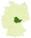 Map of Germany with the location of Thuringia highlighted