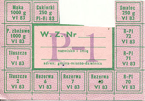 Summer 1981 hunger demonstrations in Poland - Polish P-1 food ration card from the 1980s: includes, among other items, meat, 250 g of candy, 1 kg of flour, 250 g of lard