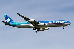 Ken H. THT A340-300 on final for R-W16L(2). (7676512492).jpg