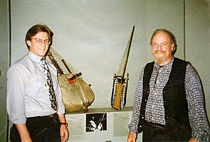 """Gravikord - Robert Grawi (right), inventor of the Gravikord, with Ken Moore (left), Curator of the Metropolitan Museum of Art show """"Enduring Rhythms"""" (New York City, October 3, 1996 – August 3, 1997)"""