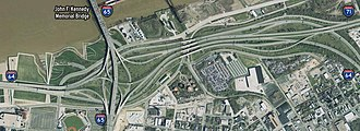 Kennedy Interchange - An image of the Kennedy Interchange pre-dating its reconstruction and the building of the Abraham Lincoln Bridge.