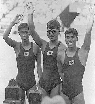 Kentaro Kawatsu - Kentaro Kawatsu (left), Toshio Irie and Masaji Kiyokawa at the 1932 Olympics