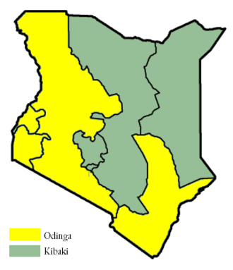 Kenyan general election, 2007 - Image: Kenya Provinces 2007 elections