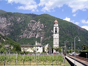 Tegna, Switzerland - Tegna village and church