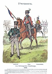 Colored print of von Hellwigsches Streifcorps shows a foot soldier in a green jacket with light gray breeches holding a musket. There two horsemen wearing red hussar jackets and light gray trousers, one with a lance and the other with a saber.