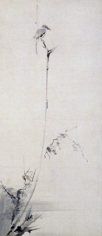 Miyamoto Musashi - Shrike on a Dead Branch, by Miyamoto Musashi
