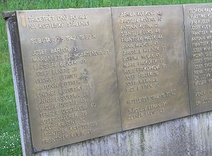 Resistance in German-occupied Czechoslovakia - Memorial plaques with names of the victims at the Kobylisy shooting range in Prague, where over 500 Czechs were executed in May and June 1942