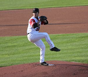 Kodi Medeiros - Medeiros pitching for the Wisconsin Timber Rattlers in 2015