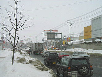 Japan National Route 12 - Suburb of Sapporo in winter