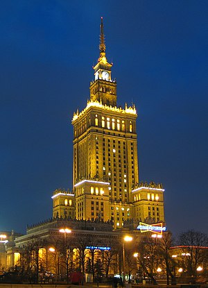 Socialist realism in Poland - Palace of Culture and Science in Warsaw built using Soviet-drawn blueprints in 1952–1955