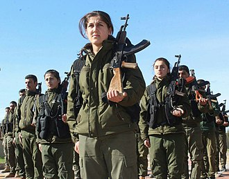 Women in the military - Members of the YPJ, alongside their male YPG counterparts