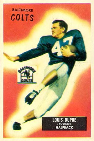 L. G. Dupre - Dupre on a 1955 Bowman football card